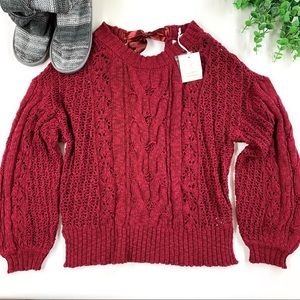 Lauren Conrad Glamour Cherry Ribbon Knit Sweater